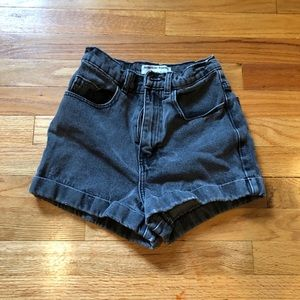 AMERICAN APPAREL BLACK DENIM HIGH WAIST SHORTS